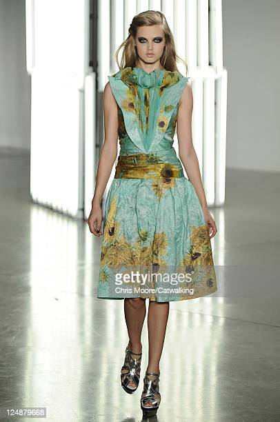 Model walks the runway at the Rodarte fashion show during New York Fashion Week on September 13, 2011 in New York, United States.