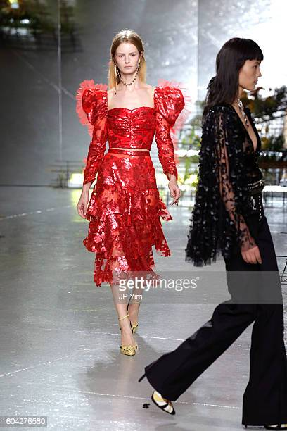 Model walks the runway at the Rodarte fashion show during New York Fashion Week September 2016 at Center 548 on September 13, 2016 in New York City.