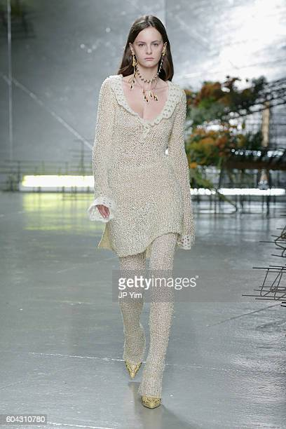 A model walks the runway at the Rodarte fashion show during New York Fashion Week September 2016 at Center 548 on September 13 2016 in New York City
