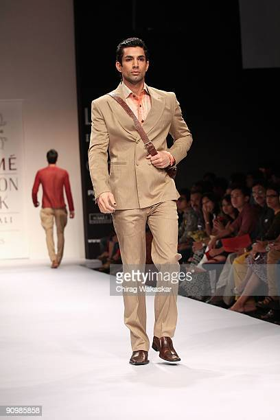 A model walks the runway at the Rohit Abhishek show at Lakme Fashion Week Spring/Summer 2010 held at Hotel Grand Hyatt on September 20 2009 in Mumbai...