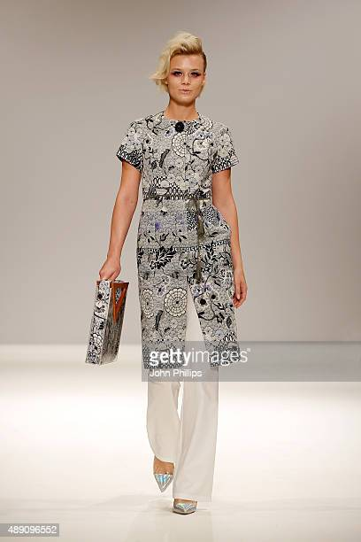 A model walks the runway at the Rohmir show at Fashion Scout during London Fashion Week Spring/Summer 2016/17 on September 19 2015 in London England