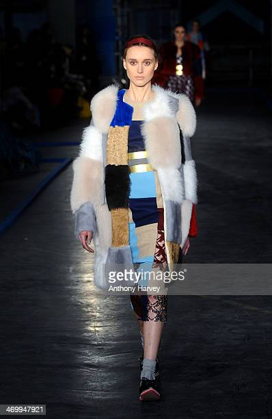 A model walks the runway at the Roksanda Ilincic show at London Fashion Week AW14 at The Old Sorting Office on February 17 2014 in London England