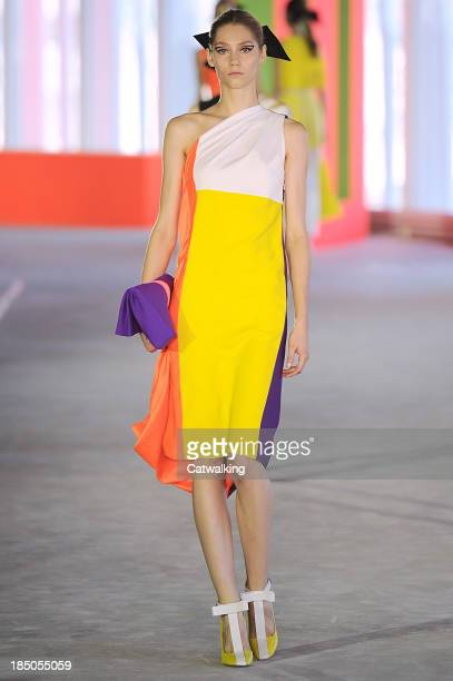 Model walks the runway at the Roksanda Ilincic Spring Summer 2014 fashion show during London Fashion Week on September 16, 2013 in London, United...