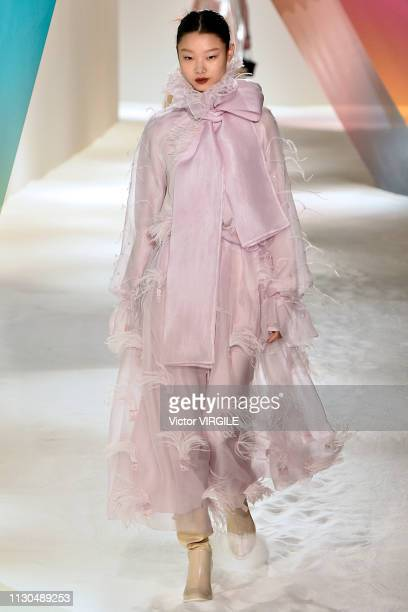 A model walks the runway at the Roksanda Ready to Wear Fall/Winter 20192020 fashion show during London Fashion Week February 2019 at the Old...