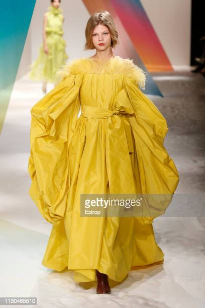 A model walks the runway at the Roksanda show during London Fashion Week February 2019 at the Old Selfridges Hotel on February 18 2019 in London...