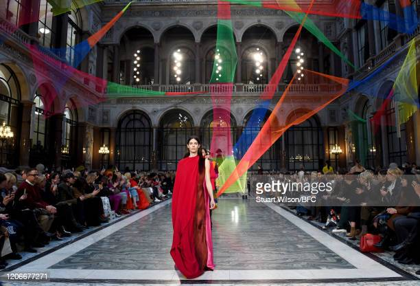 Model walks the runway at the Roksanda show during London Fashion Week February 2020 on February 16, 2020 in London, England.
