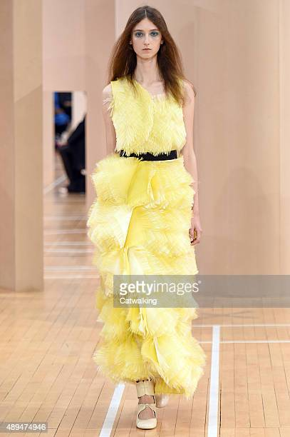 A model walks the runway at the Roksanda Spring Summer 2016 fashion show during London Fashion Week on September 21 2015 in London United Kingdom