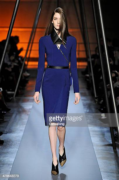 Model walks the runway at the Roland Mouret Autumn Winter 2014 fashion show during Paris Fashion Week on February 28, 2014 in Paris, France.