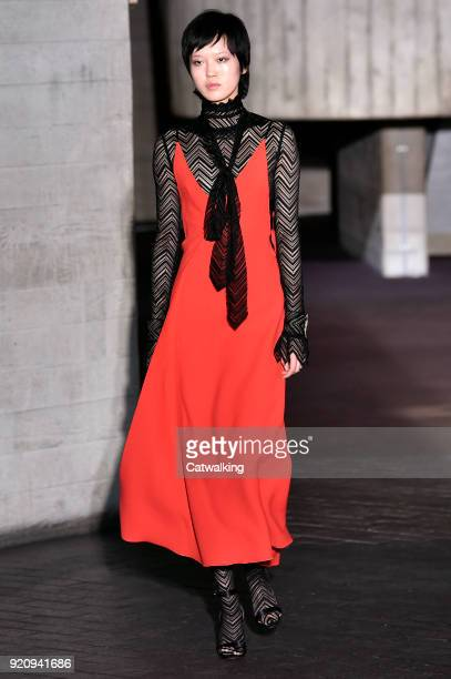 A model walks the runway at the Roland Mouret Autumn Winter 2018 fashion show during London Fashion Week on February 18 2018 in London United Kingdom