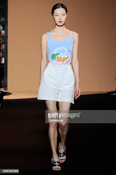 Model walks the runway at the Roland Mouret Spring Summer 2015 fashion show during Paris Fashion Week on September 25, 2014 in Paris, France.
