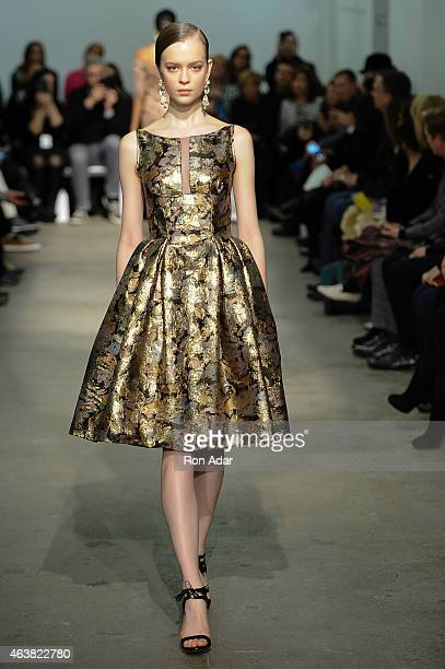 Model walks the runway at the Rolando Santana show during the Mercedes-Benz Fashion Week Fall 2015 at 344 West 38th Street on February 18, 2015 in...