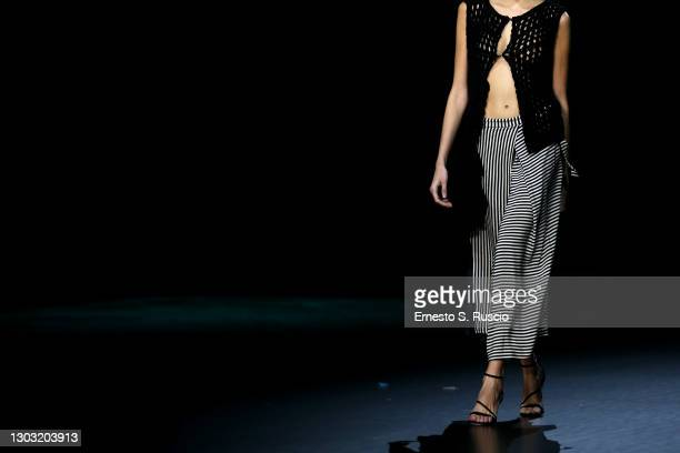 """Model walks the runway at the """"Rome Is My Runway"""" Collective Fashion Show featuring designs by Annagiulia Firenze, Eticlò, Gaiofatto and Pommes de..."""