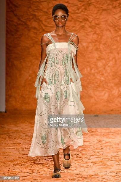 A model walks the runway at the Ronaldo Fraga Spring Summer 2019 fashion show during the SPFW N45 on April 26 2018 in Sao Paulo Brazil