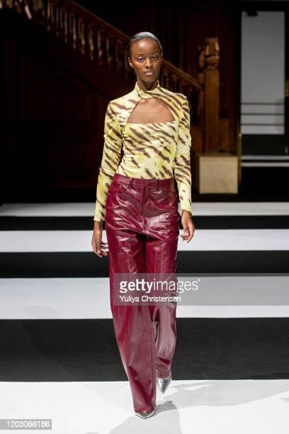 Model walks the runway at the Rotate Birger Christensen show during the Copenhagen Fashion Week Autumn/Winter 2020 on January 30, 2020 in Copenhagen,...