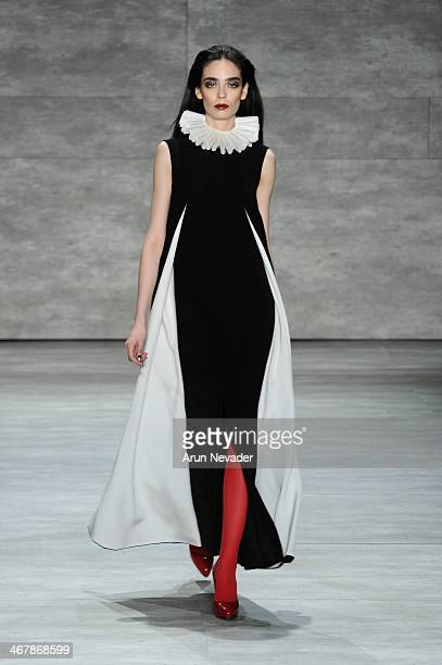 A model walks the runway at the Ruffian fashion show during MercedesBenz Fashion Week Fall 2014 at Lincoln Center on February 8 2014 in New York City