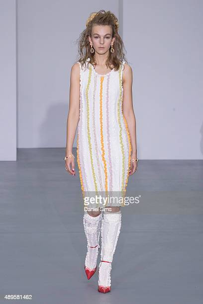 A model walks the runway at the Ryan Lo show during London Fashion Week Spring/Summer 2016/17 on September 22 2015 in London England