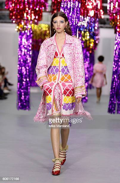 A model walks the runway at the Ryan LO show during London Fashion Week Spring/Summer collections 2017 on September 16 2016 in London United Kingdom