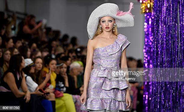 A model walks the runway at the Ryan LO's show during London Fashion Week Spring/Summer collections 2017 in London United Kingdom on September 16 2016