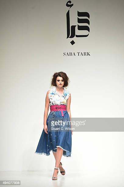 b8425e36089 A model walks the runway at the Saba Tark show during Dubai Fashion Forward  Spring