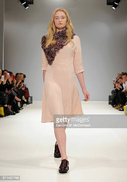 A model walks the runway at the Sabinna show at Fashion Scout during London Fashion Week Autumn/Winter 2016/17 at Freemasons' Hall on February 20...