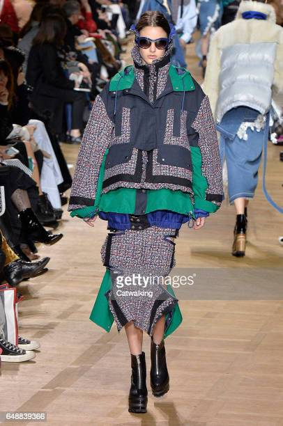 A model walks the runway at the Sacai Autumn Winter 2017 fashion show during Paris Fashion Week on March 6 2017 in Paris France