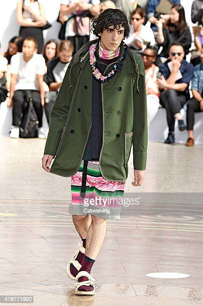 A model walks the runway at the Sacai Spring Summer 2016 fashion show during Paris Menswear Fashion Week on June 27 2015 in Paris France