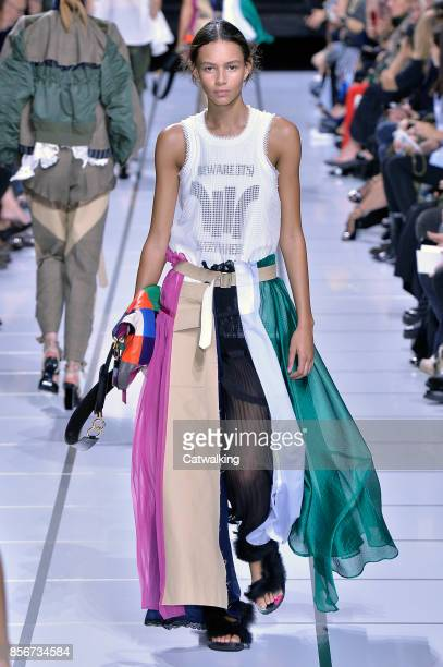 A model walks the runway at the Sacai Spring Summer 2018 fashion show during Paris Fashion Week on October 2 2017 in Paris France