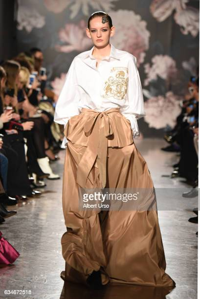Model walks the runway at the Sachin & Babi fashion show during New York Fashion Week at The National Arts Club on February 10, 2017 in New York City.