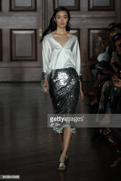 A model walks the runway at the Sachin Babi SS2018 Collection during New York Fashion Week on September 7 2017 in New York City