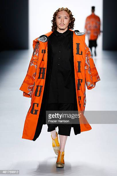 A model walks the runway at the Sadak show during the MercedesBenz Fashion Week Berlin Autumn/Winter 2015/16 at Brandenburg Gate on January 19 2015...