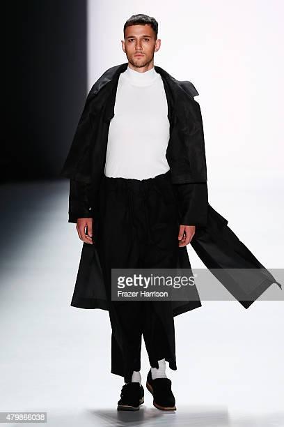 A model walks the runway at the Sadak show during the MercedesBenz Fashion Week Berlin Spring/Summer 2016 at Brandenburg Gate on July 8 2015 in...