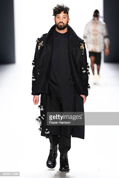 A model walks the runway at the Sadak show during the MercedesBenz Fashion Week Berlin Autumn/Winter 2016 at Brandenburg Gate on January 19 2016 in...