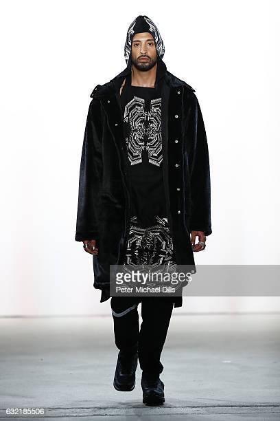 A model walks the runway at the Sadak show during the MercedesBenz Fashion Week Berlin A/W 2017 at Kaufhaus Jandorf on January 20 2017 in Berlin...