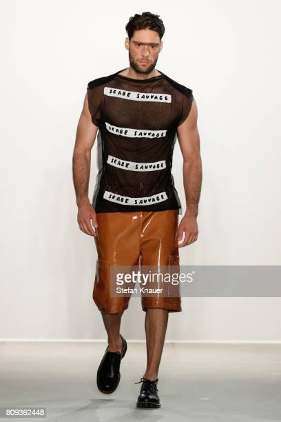 A model walks the runway at the Sadak show during the MercedesBenz Fashion Week Berlin Spring/Summer 2018 at Kaufhaus Jandorf on July 5 2017 in...