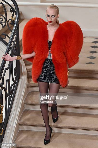A model walks the runway at the Saint Laurent Autumn Winter 2016 fashion show during Paris Fashion Week on March 7 2016 in Paris France