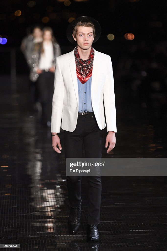 A model walks the runway at the Saint Laurent Resort 2019 Runway Show on June 6, 2018 in New York City.
