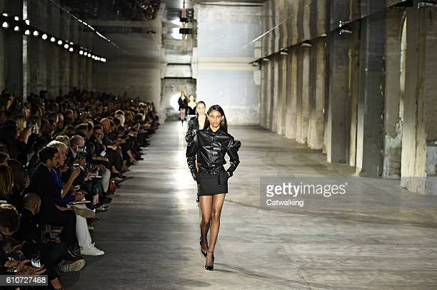 Model walks the runway at the Saint Laurent Spring Summer 2017 fashion show during Paris Fashion Week on September 27, 2016 in Paris, France.