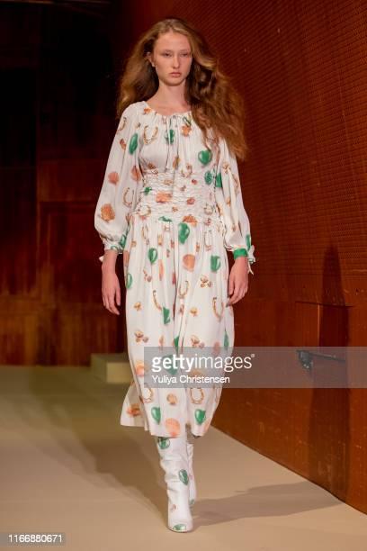 A model walks the runway at the Saks Potts show during the Copenhagen Fashion Week Spring/Summer 2020 on August 08 2019 in Copenhagen Denmark