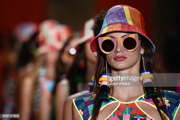 A model walks the runway at the Salinas fashion show during the Sao Paulo Fashion Week Spring/Summer 20162017 on April 28 2016 in Sao Paulo Brazil