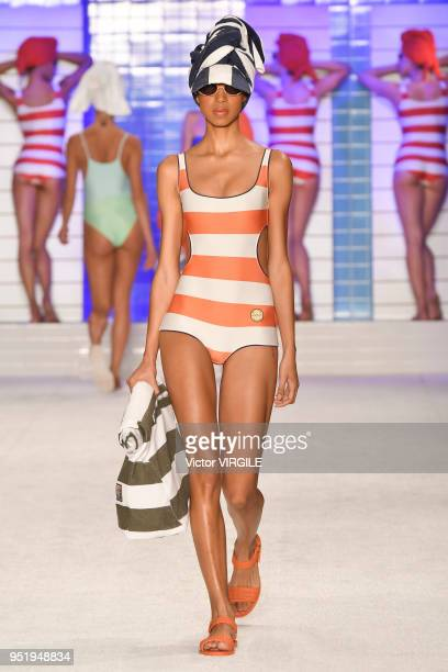 A model walks the runway at the Salinas Spring Summer 2019 fashion show during the SPFW N45 on April 25 2018 in Sao Paulo Brazil