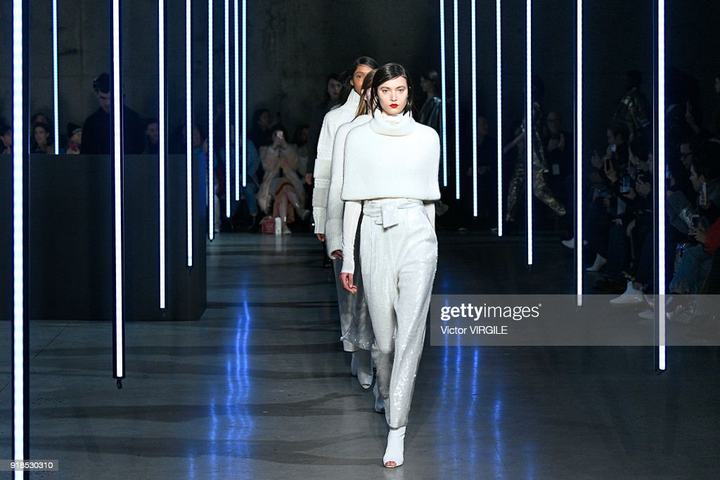 A model walks the runway at the Sally LaPointe Ready to Wear Fall/Winter 2018-2019 fashion show during New York Fashion Week on February 13, 2018 in New York City.