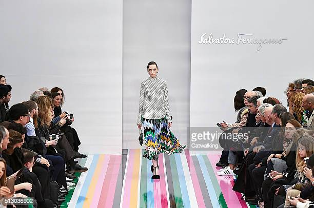 A model walks the runway at the Salvatore Ferragamo Autumn Winter 2016 fashion show during Milan Fashion Week on February 28 2016 in Milan Italy