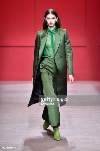 A model walks the runway at the Salvatore Ferragamo Autumn Winter 2018 fashion show during Milan Fashion Week on February 24 2018 in Milan Italy