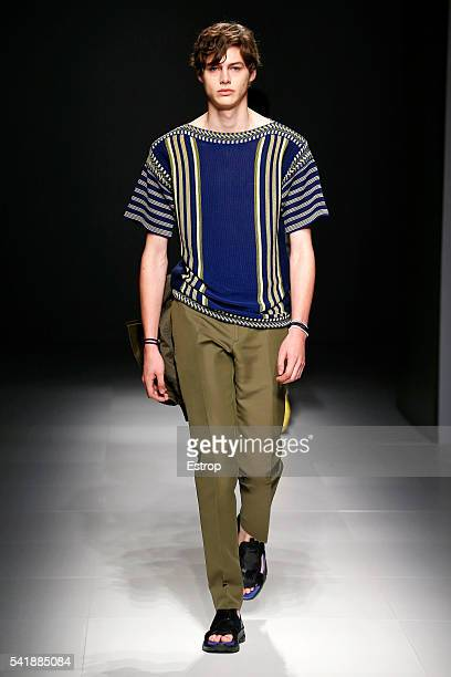 A model walks the runway at the Salvatore Ferragamo designed by Massimiliano Giornetti show during Milan Men's Fashion Week SS17 on June 19 2016 in...