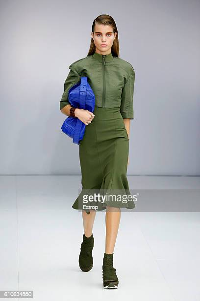 A model walks the runway at the Salvatore Ferragamo designed by Massimiliano Giornetti show Milan Fashion Week Spring/Summer 2017 on September 25...
