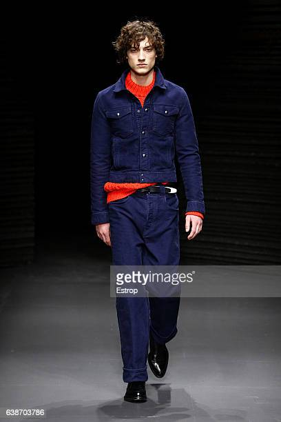 A model walks the runway at the Salvatore Ferragamo designed by Massimiliano Giornetti show during Milan Men's Fashion Week Fall/Winter 2017/18 on...