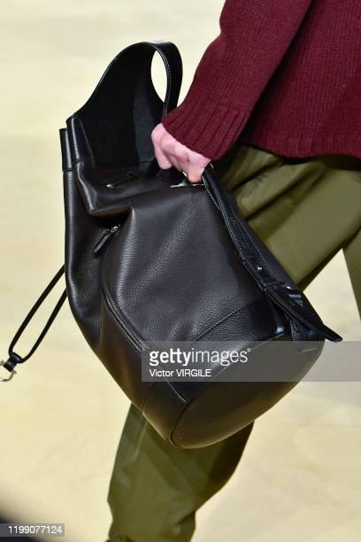 Model walks the runway at the Salvatore Ferragamo Fall/Winter 2020-2021 fashion show during Milan Men's Fashion Week on January 12, 2020 in Milan,...