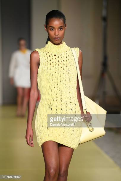 Model walks the runway at the Salvatore Ferragamo fashion show during the Milan Women's Fashion Week on September 26, 2020 in Milan, Italy.