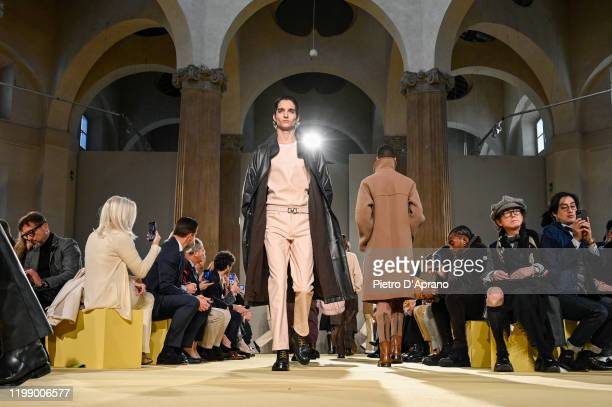 Model walks the runway at the Salvatore Ferragamo fashion show on January 12, 2020 in Milan, Italy.
