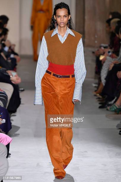 A model walks the runway at the Salvatore Ferragamo Ready to Wear Fall/Winter 20192020 fashion show at Milan Fashion Week Autumn/Winter 2019/20 on...